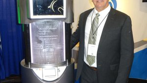 Bryan Meyers presents the OpticWash kiosk for cleaning eye glasses, which targets vision centers and doctors' offices.