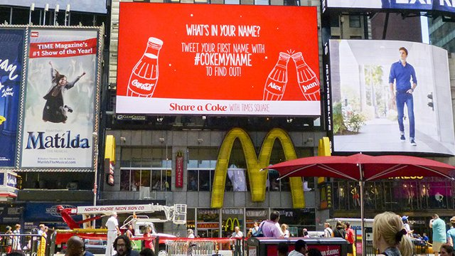 Coca-Cola taps digital signage to find out 'What's in a Name?' in Times Square