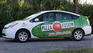 Pizza Fusion uses only hybrid vehicles to deliver pizzas to customers.