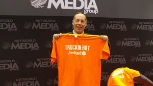 Elliot Maras, editor of FoodTruckOperator shows of the site's new shirts.