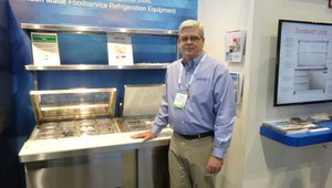 Kevin Brown shows a sandwich prep area that can fit on a food truck at the Continental Refrigeration booth.
