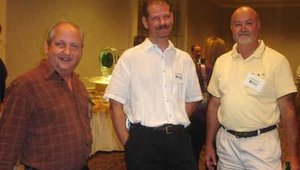 From left are Steve Perrault and Jason Teeter of ATM Instant Cash with Fred Stewart of Stewart Business Systems.