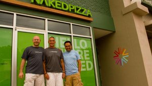 Brock Fillinger, Naked Pizza co-founder; Larry Lawyer, Louisville franchisee; and Alex Davila, director of training.