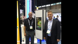 Kris Bartel, left, of Zivelo and Jeff Pinc of Panasonic present a QSR self-serve kiosk.