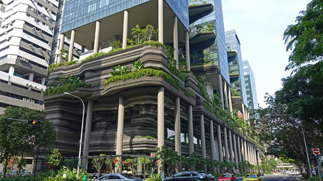 Singapore S Skyline Blossoming Proud Green Building