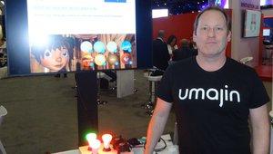 David Brebner presents an interactive digital agent solution at the Umajin booth.
