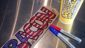 <p>Elledge's Which Wich bag art is mostly centered around his love of bacon.</p>