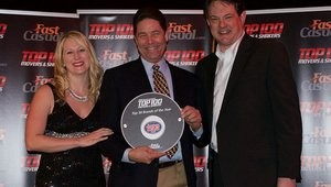 <p>Mac Shimmon, Jersey Mike's franchisee, accept the brand's Top 100 award.</p>