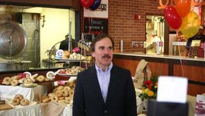 Jim Greco, CEO of Bruegger's, welcomes guests to the unveiling of its redesigned 4th St. location in Cincinnati. Bruegger's will continue to introduce its next-generation bakery prototype with the opening of four other re-imaged locations.