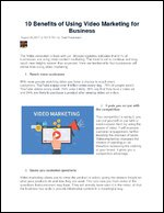 10 Benefits of Using Video Marketing for Business