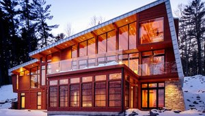<p><strong>BEST IN SHOW</strong></p>  <p>Malcolm Wildeboer Vandenburg & Wildeboer Architects Inc.</p>  <p>Wedge House Quebec, Canada</p>  <p>The Wedge House is a 4,000-square-foot vacation home on the mighty Ottawa River that embraces a comfortable balance between shelter and exposure. Key to its success is the play between an expansive and restrained approach to glazing. Floor-to-soffit Marvin windows evoke a bold but delicate transparency. The structure, a rhythm of ten ascending laminated timber bents assembled with mortised knife plates and through bolts, gives form to the cleanly pitched frame.</p>