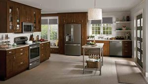 GE debuted its slate finish. The matte gray appliances feature steel handles.