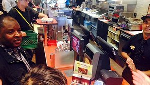 Some customers, including in this Tim Hortons, were quite curious about making an NFC payment via smartphone.