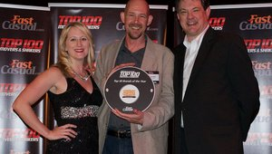 <p>Sean Kennedy, CEO of Cowboy Chicken, attends the gala to accept his award. Also pictured are Cherryh Butler, editor of FastCasual.com, and Jeremy Dobrowolski of Taylor Co.</p>
