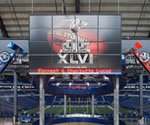 Digital signage keeping score at the Super Bowl