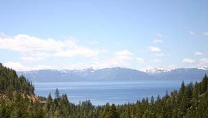 The first glimpse of Lake Tahoe from I-395 S. in Nevada.