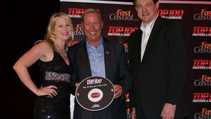 <p>Fazoli's CEO Carl Howard accepts the brand's award for placing 21st.</p>
