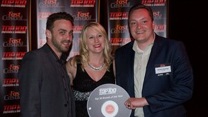 <p>The Melt's Brittain Hastings and Mike Pavel accept the brand's award from Cherryh Butler (center).</p>
