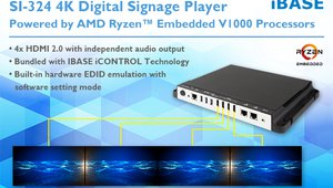 IBASE Introduces SI-324 4K Digital Signage Player Powered by AMD Ryzen™ Embedded V1000 Processors