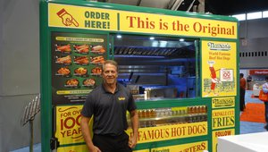 Dwayne Hoffman presents the Nathan's Famous food cart.