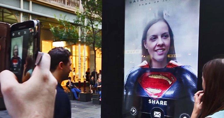 Digital signage transforming ordinary people into superheroes for 'Batman v Superman'