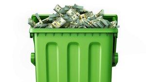 The potential cash in pizzeria plastic trash