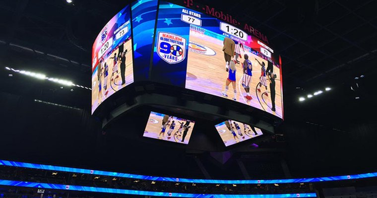 Led Display System See Through Display Installed At T Mobile Arena Digital Signage Today